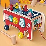 🎁【Giocattolo Educativo 2-in-1】- Il simpatico giocattolo a quattro ruote a forma di elefante è molto adatto per i bambini da 1 anno in su. Preferiscono giocare con te e aiutano a coltivare le relazioni genitore-figlio. 🎁【Cartoon Animal Bus Design】- 10...