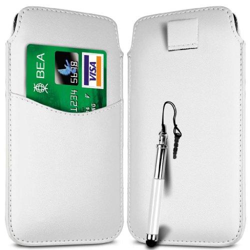N4U Online-Weiß-Karten-Slot Premium-PU-Leder Flip Pull Tab Hülle Tasche & versenkbaren Stift für Huawei Ascend Y210D