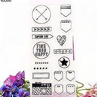 矢印スターサークル透明シリコーンクリアスタンプ/シールDIYスクラップブッキング/フォトアルバム装飾シート