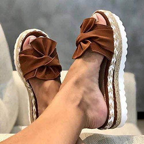 Damen Sandalen Wedge Heel Open Toe Flip Flops Vorderer Bogen Knoten Slip on Sandalen mit großem Bogen Vorderer Riemen Dicker Boden Verschleißfeste Strandreiseschuhe für Frauen, Bra