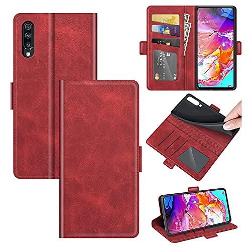 AKC Funda Compatible para Samsung Galaxy A50/A30S/A50S Carcasa Caja Case con Flip Folio Funda Cuero Premium Cover Libro Cartera Magnético Caso Tarjetero y Suporte-Rojo