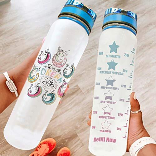 DOGCATPIG Botella de agua transparente de la bici del unicornio a prueba de fugas para acampar blanco 1000ml