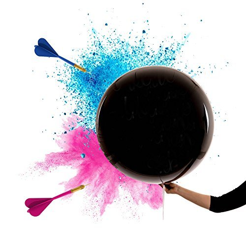 2xGender Reveal™ KING-SIZE Bomb Smoke 36' 2 Black Balloons Pink and Blue powder Two Darts Gender Reveal Balloon