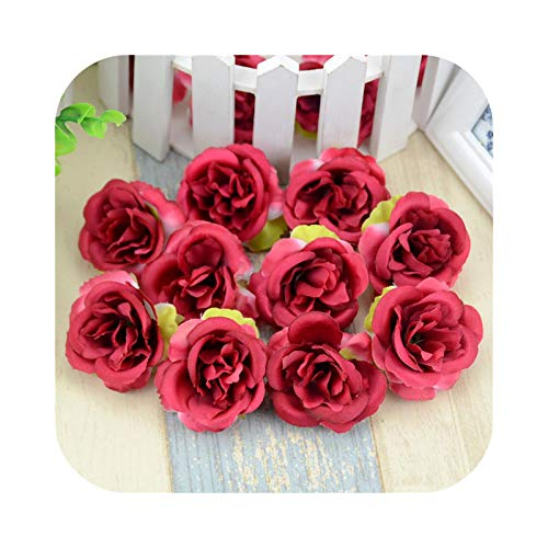 Fake Flower Artificial Flower, 100 Pieces Artificial Peony Rose Flower Heads for Home Wedding DIY Scrapbooking Garland Fake Flowers – Red