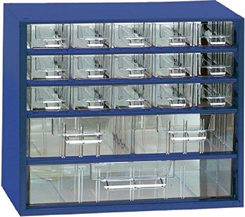 Kleinteilemagazin METALL Blau 15+2+1 glasklare Kunststoff-Schubladen + 10 Trennstege, Werkstattqualität 282 x 306 x 155 mm
