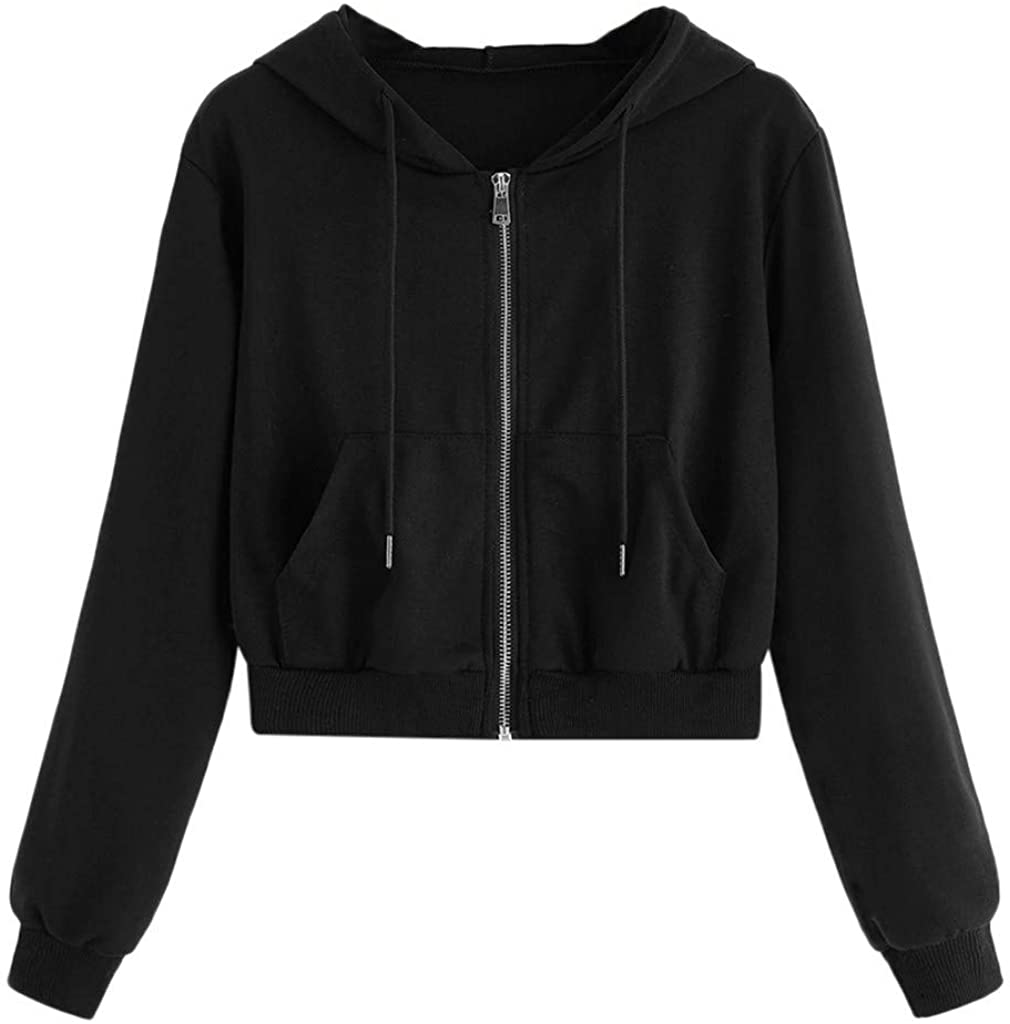Forwelly Long Sleeve Crop Sweatshirt Hooded for Women Girl Fashion Solid Zip up Hoodie Casual Drawstring Tops