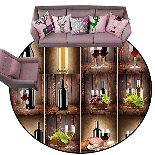 Large Floor Mats for Living Room Colorful Wine,Wine Themed Collage on Wooden Backdrop with Grapes and Meat Rustic Country Drink,Brown Black Red Diameter 78' Round Rugs for Outside