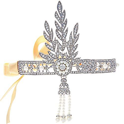 BABEYOND Damen Stirnband Bling Silber Glanz Inspiriert von Great Gatsby Blatt Muster Perlen Stirnband Haar-Tiara Damen 1920 Accessoires
