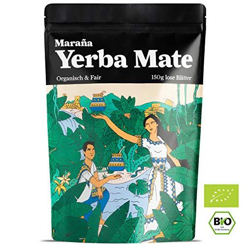 Maraña Bio Yerba Mate Tee Grün ● Lose Blätter ● Natürlicher Wachmacher und Energy Booster mit Koffein ● Fair Trade (150 GR)