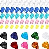 50 Piezas Protector de Dedos de Silicona de Guitarra, Tapas Protectoras de Color de Puntas de Dedos en 5 Tamaños para Principiante Tocando Guitarra Eléctrica Ukelele y 10 Púas (Todo Color Aleatorio)