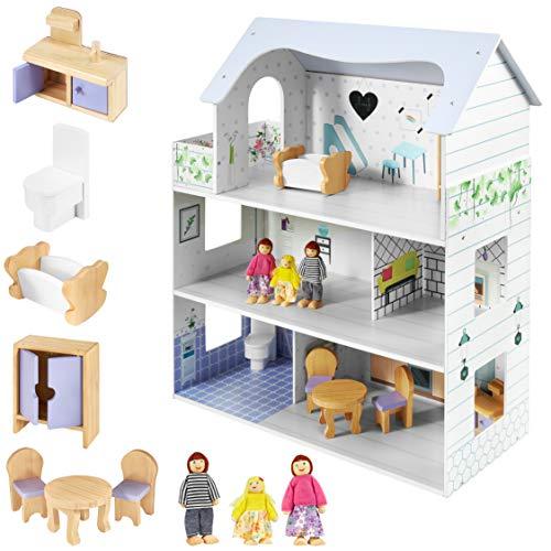Mamabrum Casa delle Bambole in Legno Grande, Casa delle Bambole con 3 Livelli, 5 Pezzi, 3 Bambole, Mobili e Accessori Inclusi, Vernice Ecologica, Giocattoli per Bambini da 3 Anni
