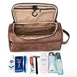 DTBG Leder Kulturbeutel Reise Kulturbeutel Organizer Tragbare Hängende Make-Up Tasche Dopp Kit & Rasur Kosmetiktasche für Männer Frauen (Braun) - 2