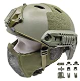 Tactical Airsoft Fast Helmet PJ Type and Metal Mesh Mask Foldable Double Straps Protect Ear Full Face Protection (Green)