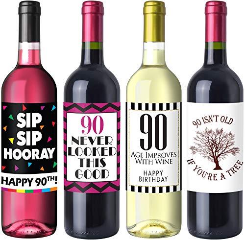 Sterling James Co. Schicke Weinflaschen-Etiketten für 90. Geburtstag – Geburtstagsparty Accessoires, Ideen und Dekorationen – Lustige Geburtstagsgeschenke für Frauen