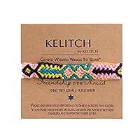 KELITCH ブレスレット ミサンガ手編み 織りブレスレット マクラメ エスニック フリーサイズ 赤&黒
