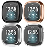 Tobfit 4 Pack Screen Protector Case Compatible with Fitbit Sense/Fitbit Versa 3, Soft TPU Ultra-Thin Plated Full Cover Scratch-Proof Protective Cases, Black/Silver/Rose Gold/Clear