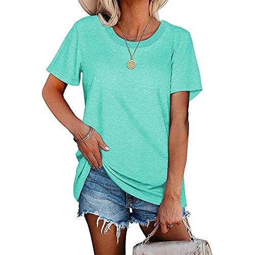 Camiseta Mujer Sexy Suelta Grande Simple Transpirable Verano Fresco Camiseta Tops Moda Color Sólido Fibra...