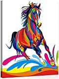 Alittle Pintar por Numeros, DIY Pintura acrlica Kit para Principiantes Adultos y Nios - Caballo Colorido 16 * 20 Pulgadas con Pinceles y Pinturas DIY Pintura al eo (con Marco de Madera)