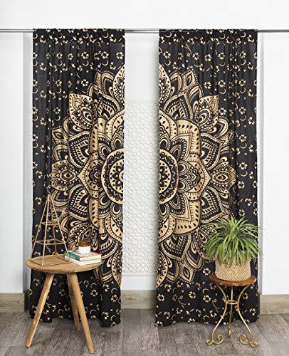 Popular Handicrafts - Cortina de mandala india hippie, bohemia, color negro y dorado