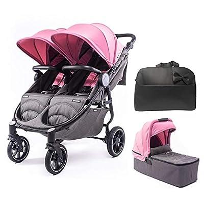 Silla Gemelar Easy Twin 4 Chasis Negro + 1 Capazo Baby Monsters Plástico de Lluvia y Barras Frontales incluidas Color Milkshake