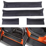 XBEEK Door Sill Entry Guards for Jeep 2018-2021 Wrangler JL and 2020-2021 Gladiator JT Accessories Black Soft Rubber Full Coverage Door Sill Plate Kit (4- Door)