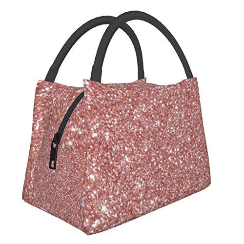 Blush Pink Rose Gold Bronze Bolsa de almuerzo con purpurina en cascada Bolsa más fresca Bolsa de asas para mujer Fiambrera aislada Fiambrera térmica resistente al agua para mujeres / Picnic / Pes