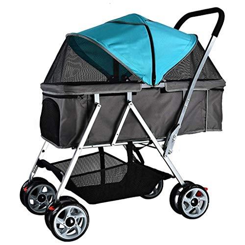 N&W Pet Travel Stroller Dog 4 Wheels Travel Stroller Dog Cat Pushchair Trolley Puppy Jogger Folding Carrier MAX Loading 25kg