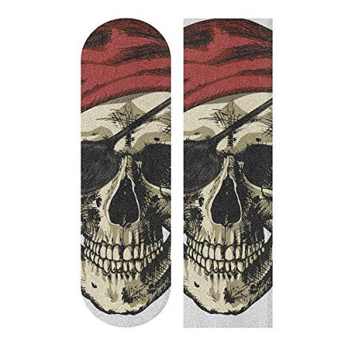 LMFshop 33,1x9,1 Zoll Sport Outdoor Custom Skateboard Grip Tape Pirat Totenkopf Bandana und EIN Ohrring Print wasserdicht Skateboard Griptape für Tanzbrett Double Rocker Board Deck 1 Sh