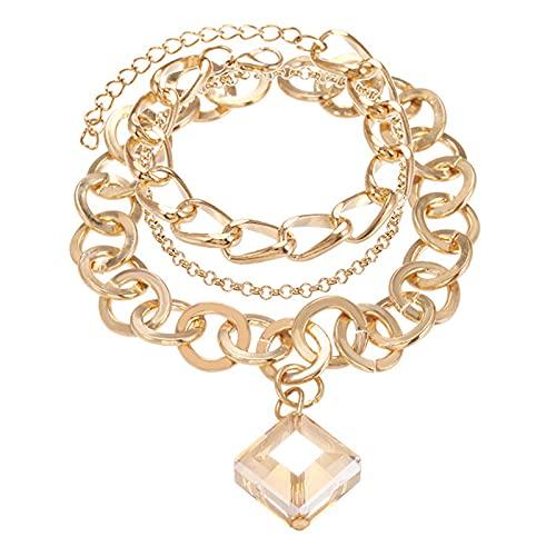 QFSLR Pulseras para Mujer Pulsera De Cristal Ajustable Pulsera En Capas Pulsera Colgante, Oro