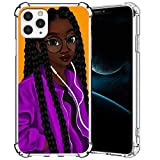 iPhone 11 Case,Girly Black Girl 4 iPhone 11 Case for Girls Women,Clear with Pattern Designs Slim Flexible Soft TPU Rubber Protective Cases Cover for Apple iPhone 11 6.1-Inch