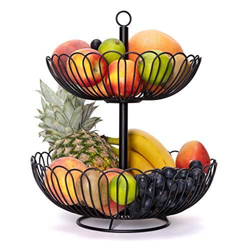 Chefarone Obst Etagere 34 cm - XL Obstschale Metall für mehr Platz auf der Arbeitsplatte - Etageren mit Obstschalen - dekorativer Obstkorb (schwarz)