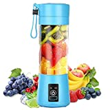 Aizbao 380ml Portable Blender, Six Blades 3D Juice 380ml cup, Small Fruit Mixer, Personal Mixer Fruit Rechargeable with USB, Mini Blender for Milk Shakes, Smoothie, Fruit Juice (Dark Blue)