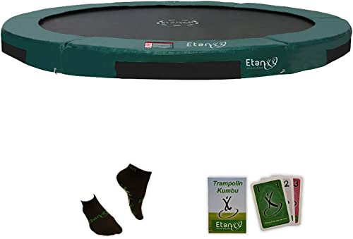 Etan Hi-Flyer Outdoor Boden Trampolin – InGründ Gartentrampolin mit UV-Beste iges Randabdeckung mit starkem PVC - eingeGrün in-Gründ Kinder trampolin – Rund –  44 cm30cm  , 366cm oder 427 cm