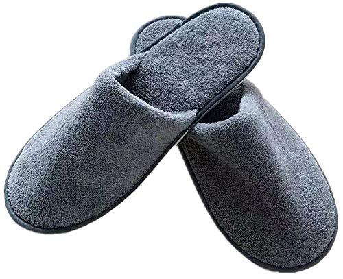6 Pairs of Adequate Spa-Slippers House-Slippers Closed Toe Thick Soft Non Slip Disposable-Home-Slippers, Universal Travel-Slippers Hotel-Slippers, Fits Up to US Men Size 10 & Women Size 11 (Gray)