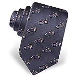 Men's 100% Silk Born To Ride Motorcycle Novelty Tie Necktie (Gray)