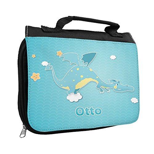 Kulturbeutel mit Namen Otto und schönem Motiv mit Drache für Jungen | Kulturtasche mit Vornamen | Waschtasche für Kinder