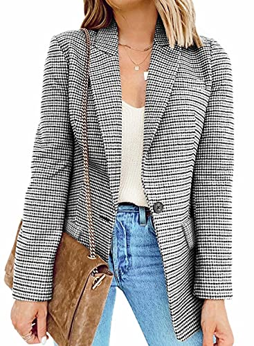 BLENCOT Casual Blazers Long Sleeve Open Front Work Jackets Blazer Summer Office Blazers Medium Plaid Black