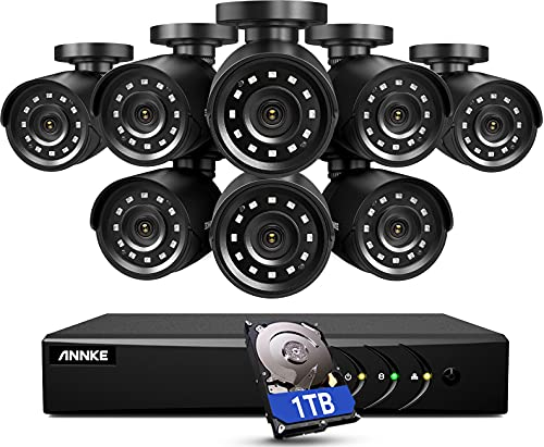 ANNKE 5MP Lite Security Camera System Outdoor 8 Channel H.265+ DVR and 8X1920TVL IP66 Weatherproof Home CCTV Cameras, Smart Playback, Instant Email Alert with Images, 1TB Hard Drive - E200