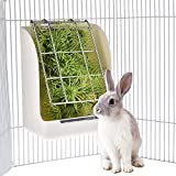 KIOPS Ratelier a Foin et Pellets Lapin, 2-en-1 Gamelle et Râtelier à Foin pour Cage D'intérieur, Polyvalent pour Toute Cage Métallique, Résistance aux morsures (Blanc)