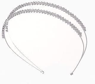 Fashion Shining Double Row Irregular Inlay Rhinestone Headband Wedding Bride Bridesmaids Headdress Hair Accessories for Women