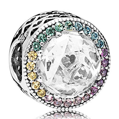 Pandora 925 cuentas de plata esterlina DIY abalorios para pulsera femenina pulsera multicolor Corazones radiantes multicolor Cz Charm