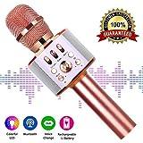 Microphone Sans Fil, Micro Karaoké Bluetooth Portable pour Enfants/Adultes Chanter,...