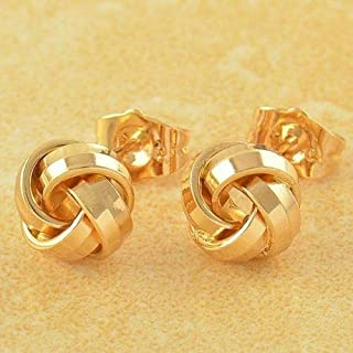 Very 9K Solid Yellow Gold Filled Retro Love Knot Stud Post Earrings Fashion Jewelry for Women Man