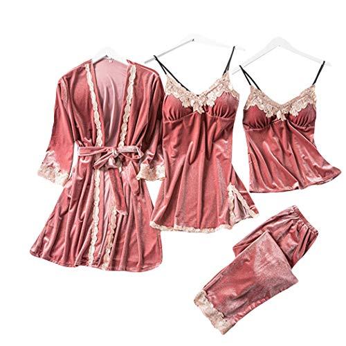 HANMAX Damen Pyjama-Set, 4-teilig, Herbst und Winter, sexy, weich, bequem Samt Einfarbig Strapsrock für Erwachsene