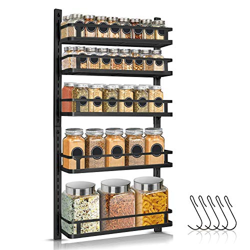 5 Tier Height-adjustable Hanging Spice Shelf Storage with Hooks $31.49 AC