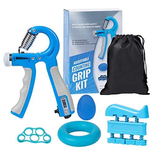DomKom Grip Strength Trainer Workout Kit 5 Pack Adjustable Resistance 22132 Lbs Counting Hand Gripper Strengthener Finger Exerciser Finger Stretcher Grip Ring amp Stress Relief Grip Ball Blue