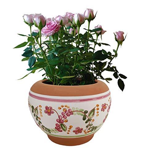 Vaso in terracotta dipinto a mano per fiori, orchidee, piante grasse e aromatiche, cactus e bonsai, Diametro 18 H15 cm, per esterno, interno e decorare il tuo giardino