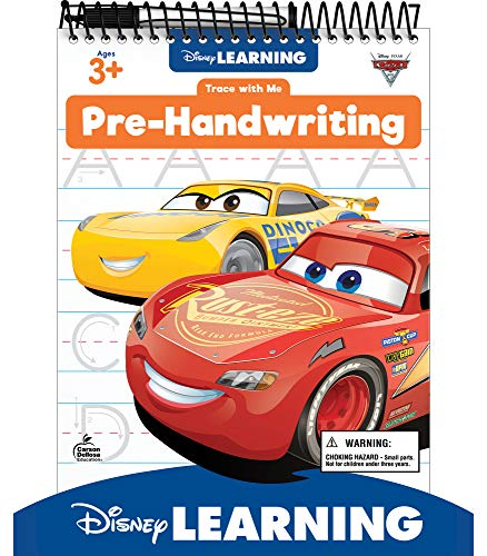 Disney Learning Cars 3 Trace With Me Pre-Handwriting Tablet—Dry-Erase Tracing and Writing Practice With Lines, Curves, Loops, Upper- and Lowercase Letters, Ages 3+ (32 pgs)