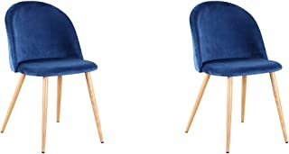 Set of 2 Retro Velvet Fabric Lounge Chairs Dining Chairs, Upholstered Dining Chairs with Metal Legs Wood Style Waiting Room Living Room Modern Office Furniture (Blue)