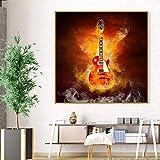 HXLZGFV Guitar In Fire Poster Bar Cafe Música Vintage Pintura en Lienzo Impresiones y Carteles Modernos Cuadros de Pared para la decoración del hogar de la Sala de estar-50x50cm-Sin Marco